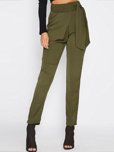 Plain Tie-Side Slim-Leg Casual Pants