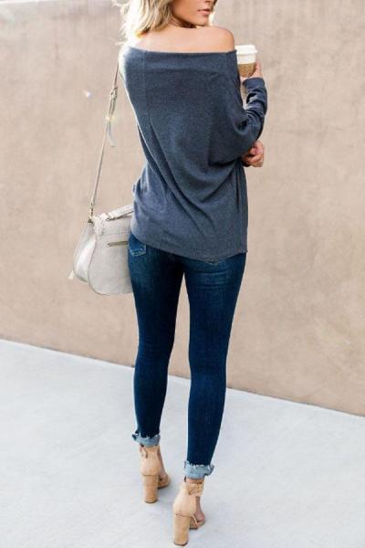 Open Shoulder  Plain  Batwing Sleeve T-Shirts