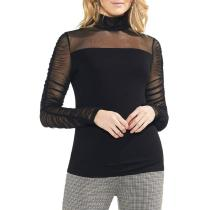 Fashion High Neck And Versatile Mesh Long Sleeve T-Shirt