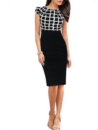 Round Neck Geometric Bodycon Dress