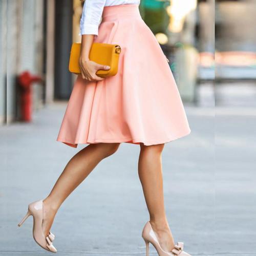 Wave Cut Plain Midi Flared Women Skirt