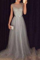 Chiffon Sleeveless Sequined Evening Wedding Dress