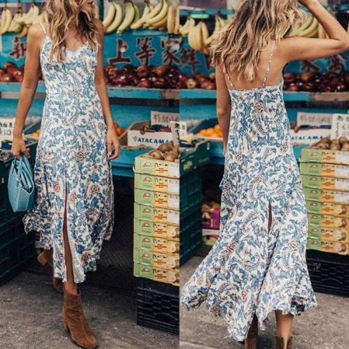 Bohemian Sexy Printing Irregular Strap Vacation Dress