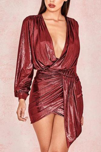 Casual V Neck Irregular Pure Colour Mini Dresses