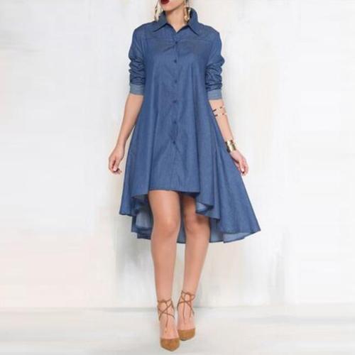 Fashion Irregular Hem Denim Casual Dress