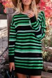 Round Neck  Striped Casual Dresses