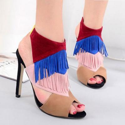 Plus Size Peep Toe Elastic Band High Heels