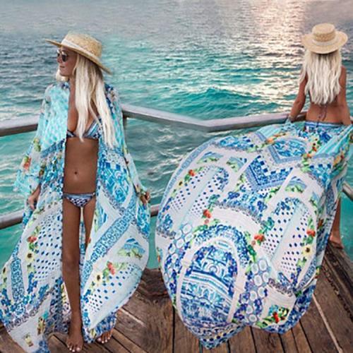 Casual Loose Printing Cardigan Chiffon Beachwear
