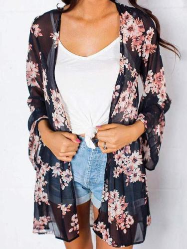 Black Flowers Back Slit Cover-Up Bohemian Cardigan Coat