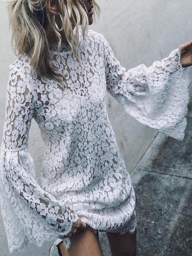 Fashionable Lace Flared Sleeves Dress
