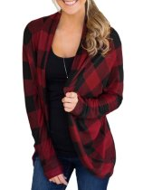 Plaid Open Front Long Sleeves Cardigan