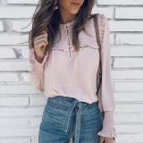 Round Neck Long Sleeve Button Ruched Blouses