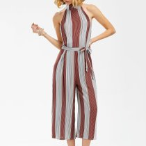 Sexy Striped Sleeveless Wide Leg Jumpsuit