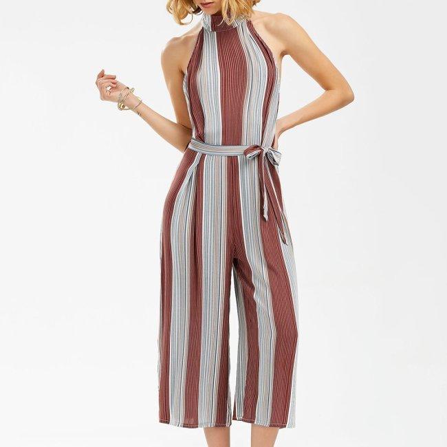 Sexy Striped Sleeveless Wide Leg Jumpsuit
