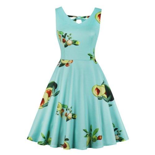 Sleeve Less V Neck Blue Skater Dress