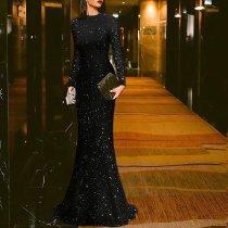 Elegant Black Round Neck Evening Dress