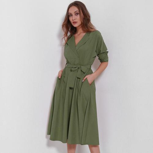 Chic V-Neck Tie-Up Mid-Length Casual Dresses