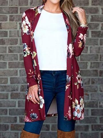 Long Sleeve Floral Printedd Cardigan
