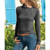 Asymmetrical Collar Button Long Sleeve Casual T-Shirts