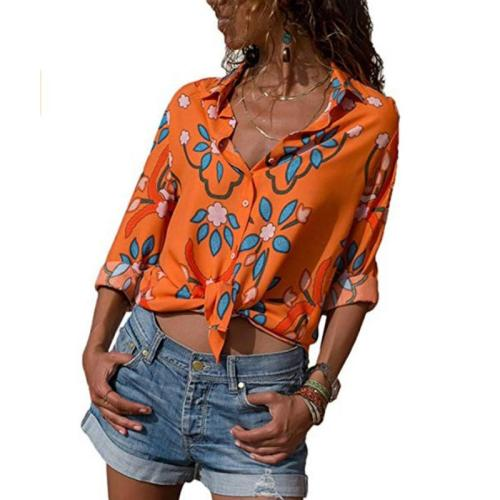 Lapel Floral Printed Long Sleeve Casual Blouses