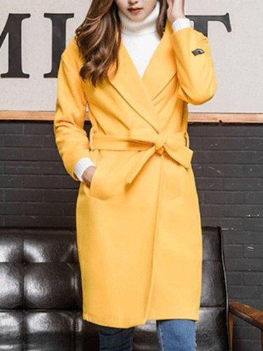 Lapel Belt Plain Pocket Woolen Coat