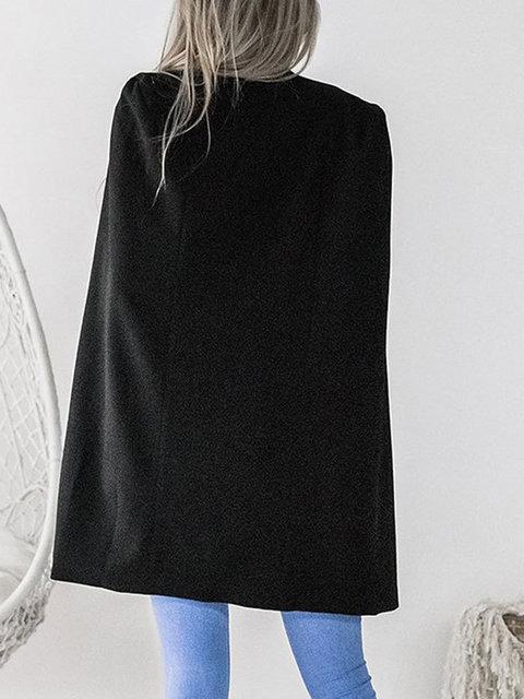 Solid Cotton-blend Elegant Cape Sleeve Shawl Collar Winter Cape