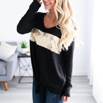 Stitching And Binding V-Neck Long-Sleeved T-Shirt