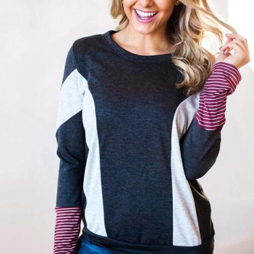 Fashion Color Blocking Long Sleeve T-Shirts