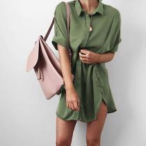 Fashion Loose Pure Color Casual Dresses