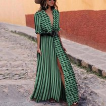 Sexy Green Short Sleeves V Neck Floral Print Maxi Dress