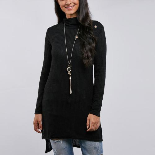 Solid Colour High Neck Long Sleeve Casual Dresses
