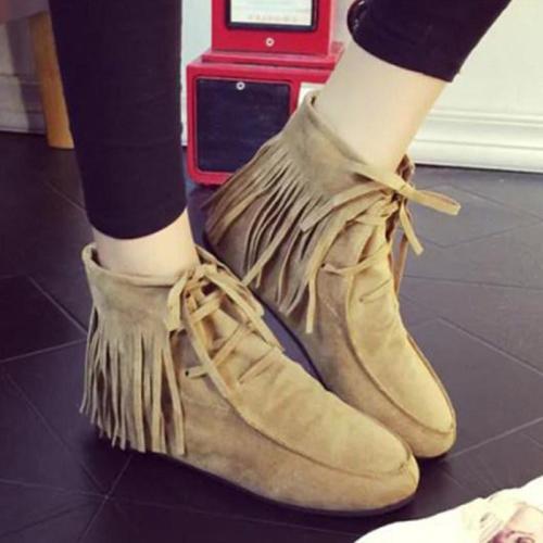 Plain Flat Velvet Round Toe Outdoor Flat Boots