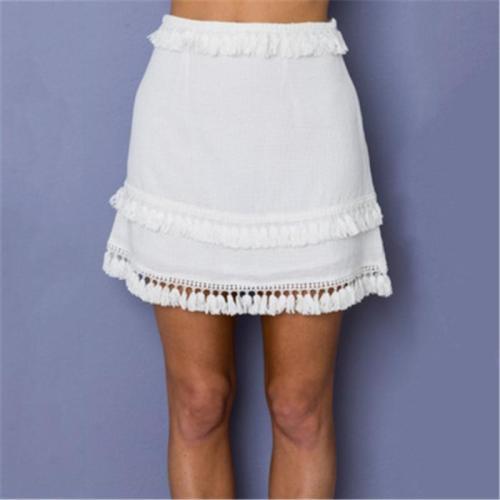 Plain Tessel Patchwork Simple Women Skirt