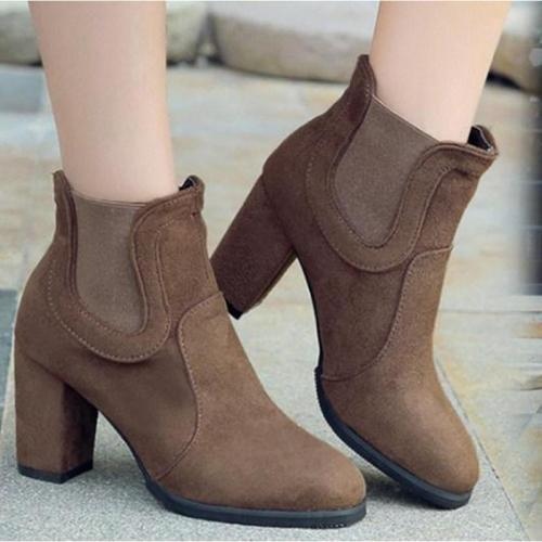 Plain Chunky High Heeled Velvet Round Toe Date Outdoor High Heels Boots