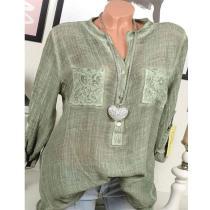 V-Neck Patch Pocket Plain Long Sleeve Blouses