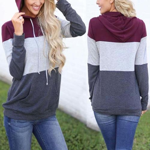 Colorblock Stitching Long Sleeve Hoodie