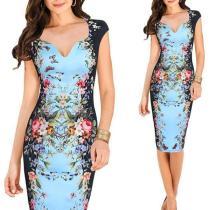V-Neck Floral Printed Knee Length Bodycon Dress