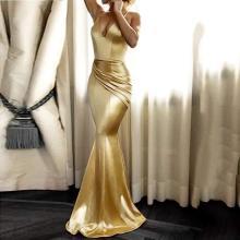 Spaghetti Strap Ruched Plain Mermaid Evening Dress