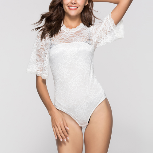 Sexy Hollowed-Out Lace One-Piece T-Shirt