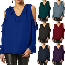V Neck Hollow Out Ruffles Long Sleeve Blouses