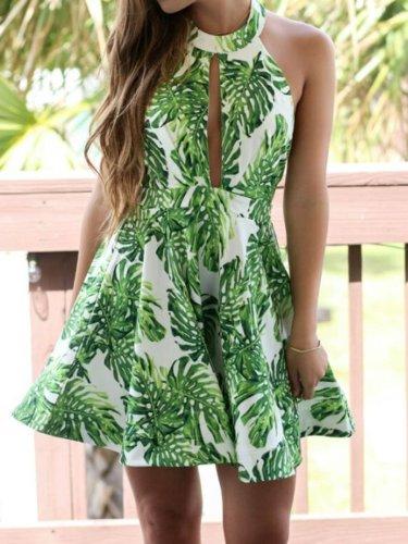 Sexy Halter Backless Tropical Leaf Printed Skater Dress