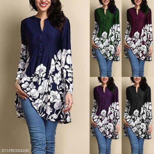 V-Neck Printed Long Sleeve Blouse