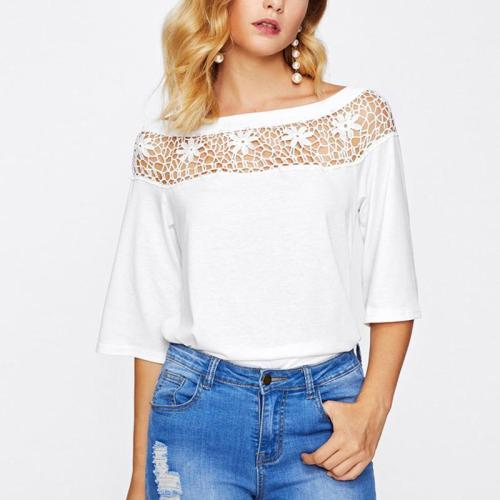 Fashion Hollowed-Out Lace T-Shirt