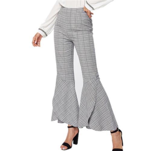 High Waist Plaid Bell Bottom Women's Pants