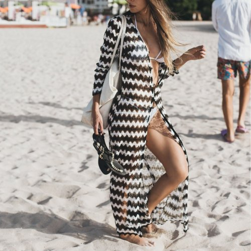 Sexy Black And White Wave Pattern Beach Bikini Smock