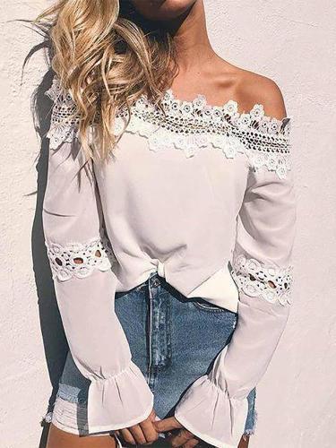 Fashion One-Shoulder Lace Splicing Long Sleeve Shirt