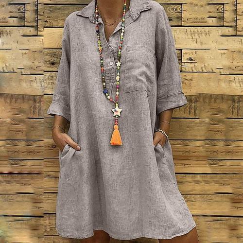 Lapel Button Pocket Half Sleeve Casual Dresses