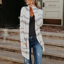 Fashion Stripes Pocket Long Sleeve Cardigans