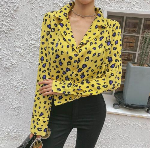 Sexy Slim Leopard Print V Collar Long Sleeve Button Blouse