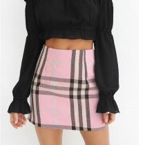 High Waist Plaid Pink Simple Mini Women's Skirt